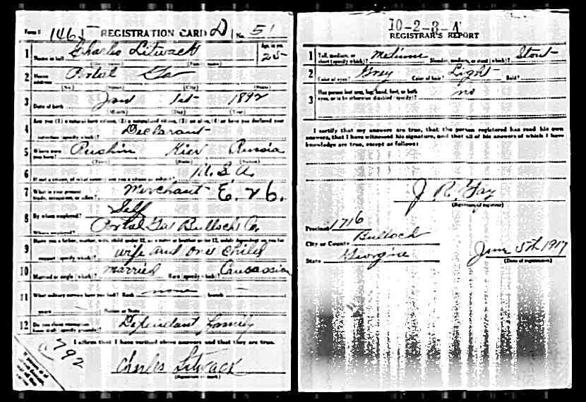 Charles Litwack WW1 Draft Card