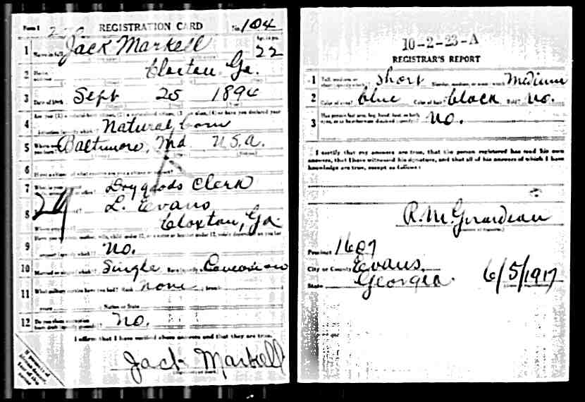 Jack Markell WWI Draft Card